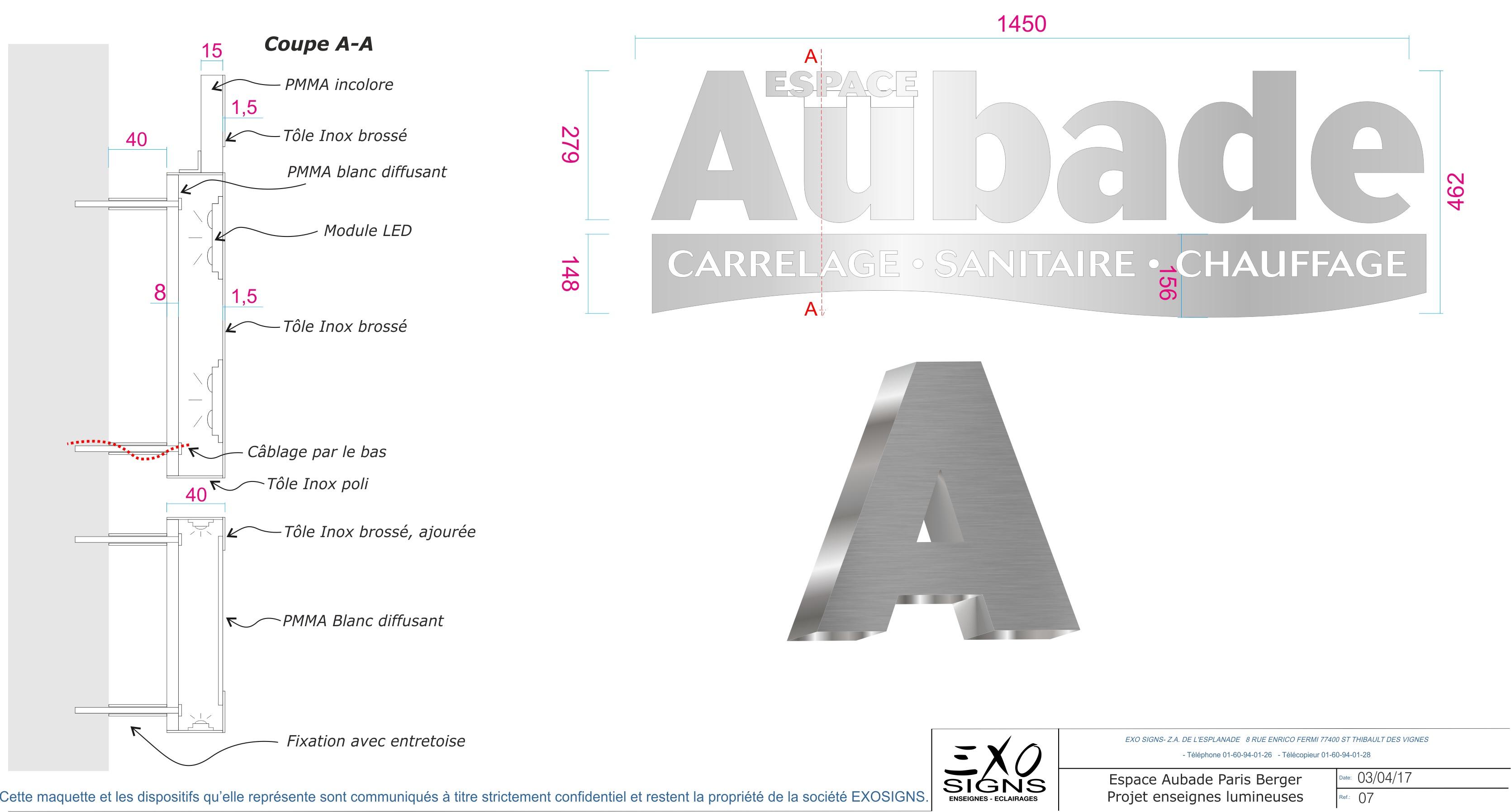 Plan technique des lettres lumineuses