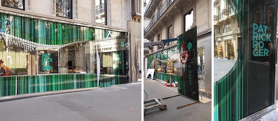 Place de la Madeleine à Paris - caisson vitrine et remplacement du logo