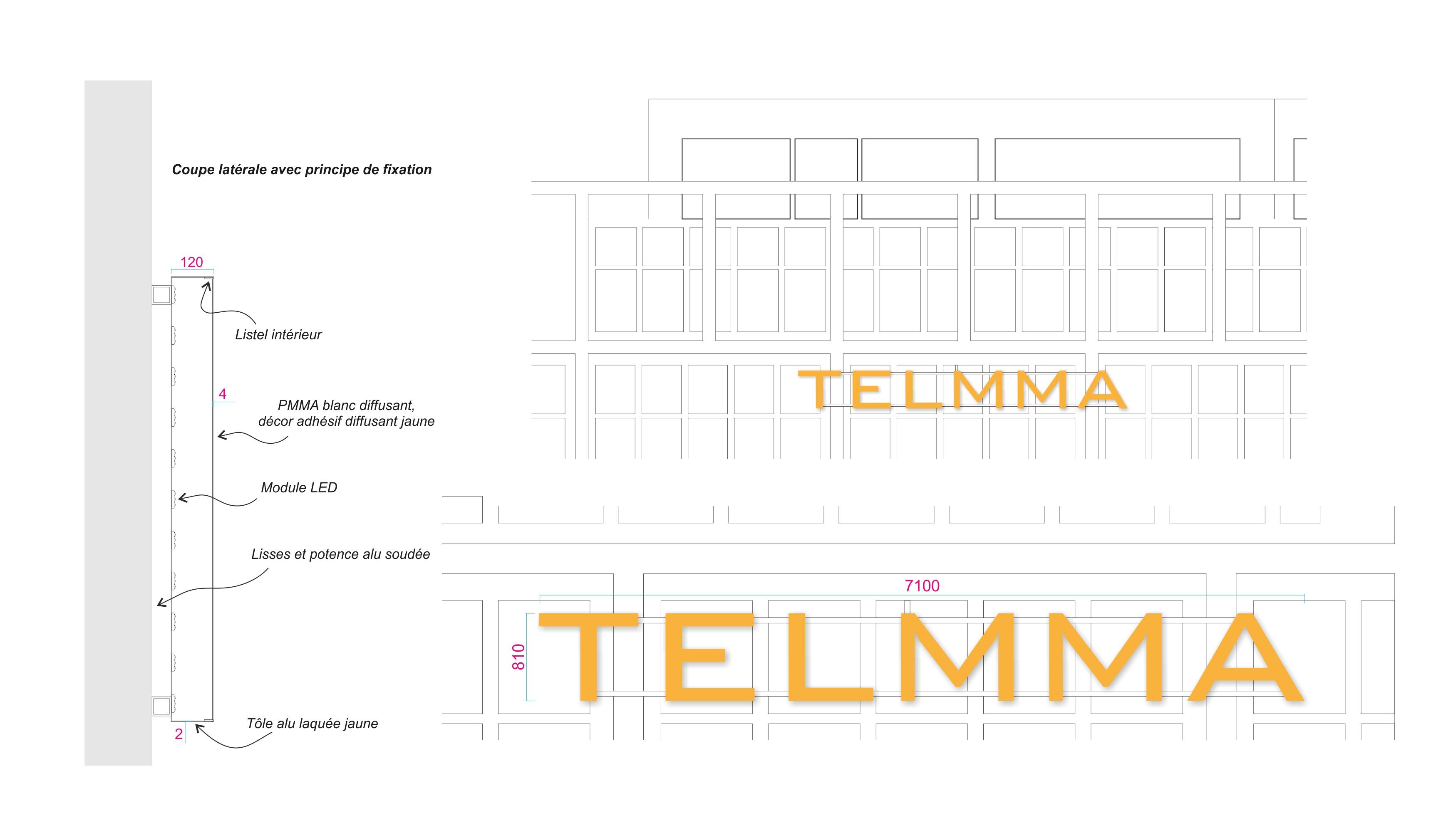 Maquette graphique du projet d'enseigne Telmma.