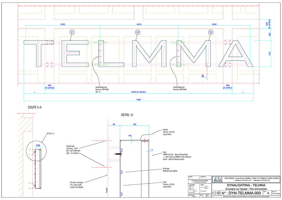 Plan exe de l'enseigne Telmma.