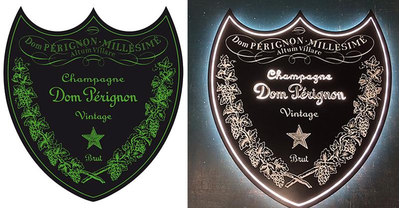 Logo Dom Perignon et la réalisation d'enseigne lumineuse Exo Signs