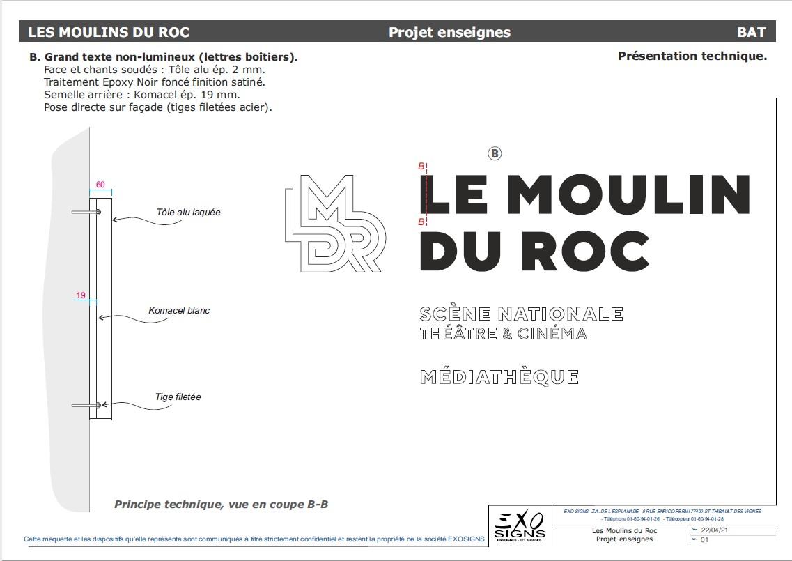 Grand texte non lumineux Le Moulin du Roc
